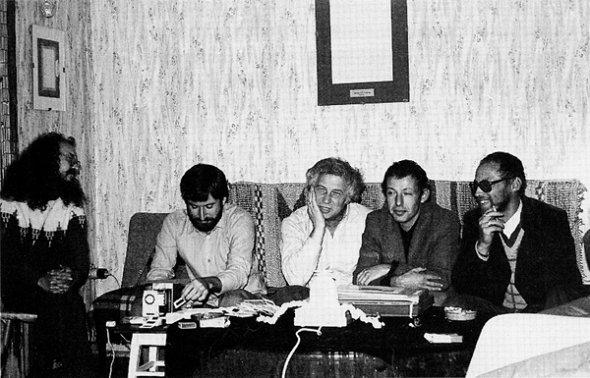 Artists and friends at Ilya Kabakov's studio, (l–r): Sergei Letov, George Kiesewalter, Ilya Kabakov, Josef Backshtein, and Dmitri Prigov. (courtesy of Ilya and Emilia Kabakov)